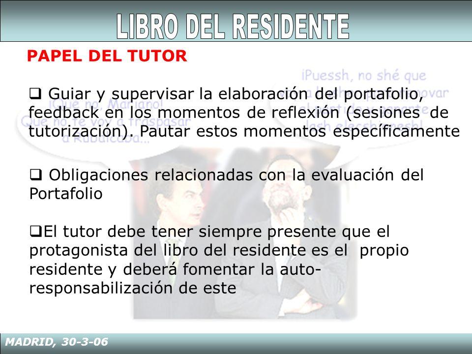 MADRID, 30-3-06 PAPEL DEL TUTOR Guiar y supervisar la elaboración del portafolio, feedback en los momentos de reflexión (sesiones de tutorización). Pa