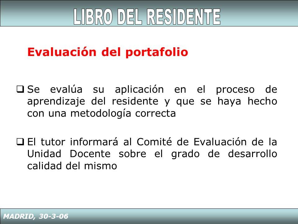 Evaluación del portafolio Se evalúa su aplicación en el proceso de aprendizaje del residente y que se haya hecho con una metodología correcta El tutor