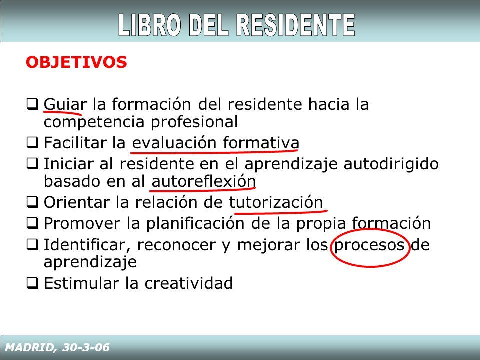 OBJETIVOS Guiar la formación del residente hacia la competencia profesional Facilitar la evaluación formativa Iniciar al residente en el aprendizaje a