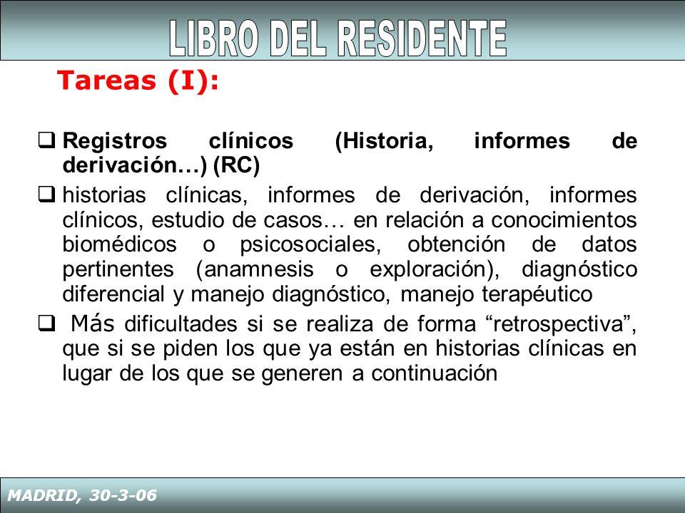 Registros clínicos (Historia, informes de derivación…) (RC) historias clínicas, informes de derivación, informes clínicos, estudio de casos… en relaci