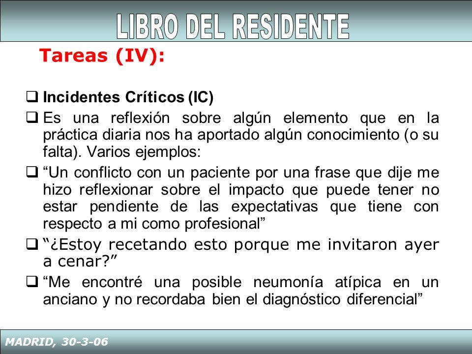 1.Datos curriculares 2.Diario de reflexión 3.Evaluaciones externas (pacientes, colegas…) 4.Publicaciones (artículos, libros,…) 5.Resultados exámenes 6.Proyectos de Investigación 7.Premios y logros personales o profesionales MADRID, 30-3-06 Tareas (V):