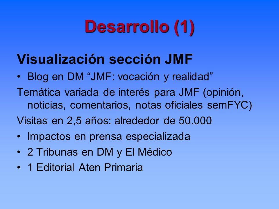 Desarrollo (1) Visualización sección JMF Blog en DM JMF: vocación y realidad Temática variada de interés para JMF (opinión, noticias, comentarios, not