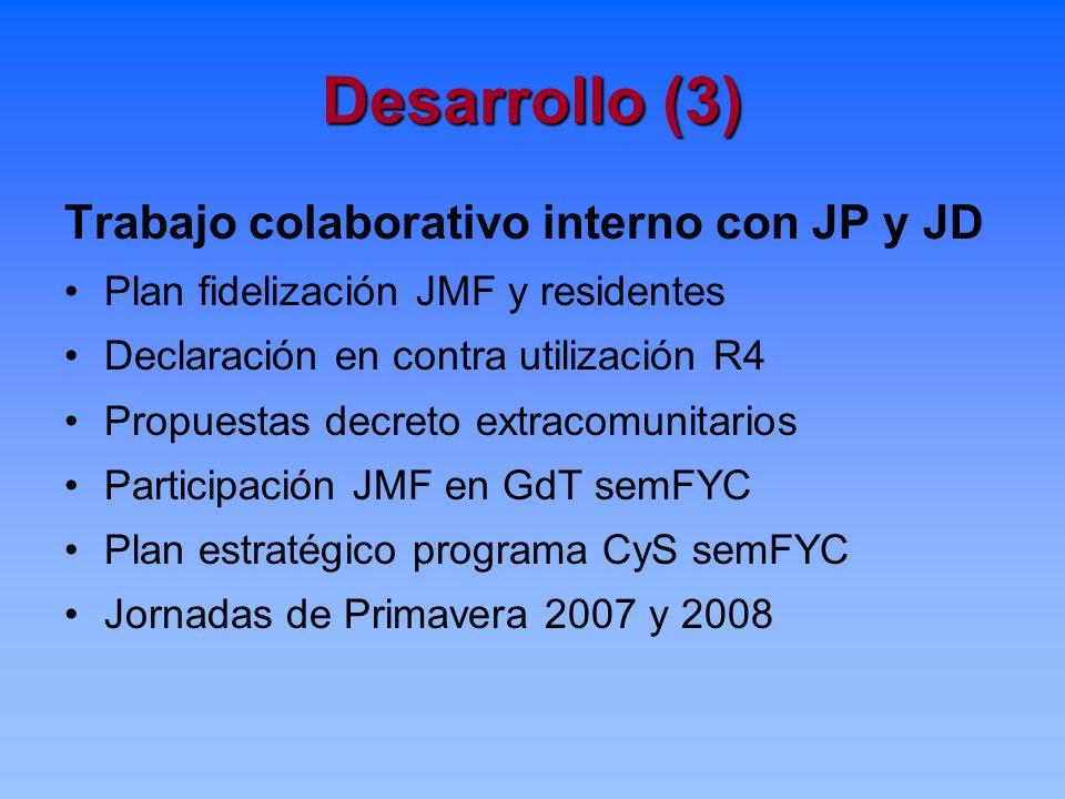 Desarrollo (3) Trabajo colaborativo interno con JP y JD Plan fidelización JMF y residentes Declaración en contra utilización R4 Propuestas decreto ext