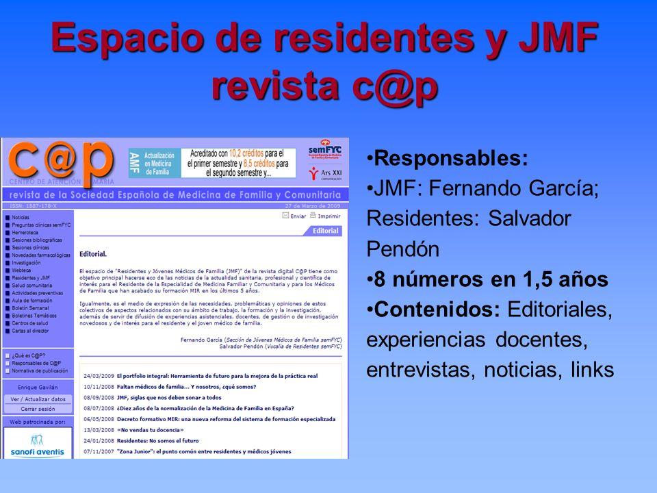 Espacio de residentes y JMF revista c@p Responsables: JMF: Fernando García; Residentes: Salvador Pendón 8 números en 1,5 años Contenidos: Editoriales,
