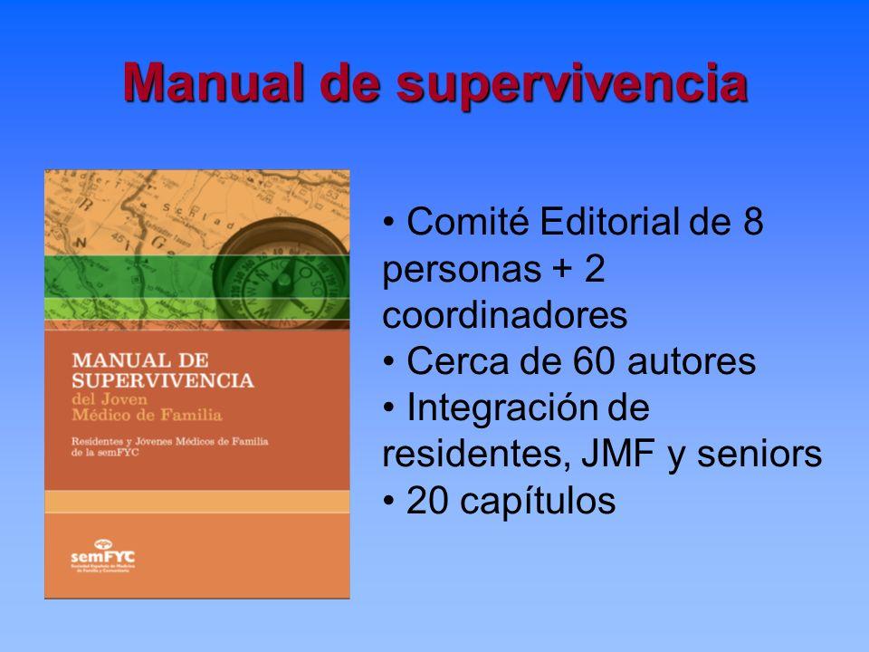 Manual de supervivencia Comité Editorial de 8 personas + 2 coordinadores Cerca de 60 autores Integración de residentes, JMF y seniors 20 capítulos