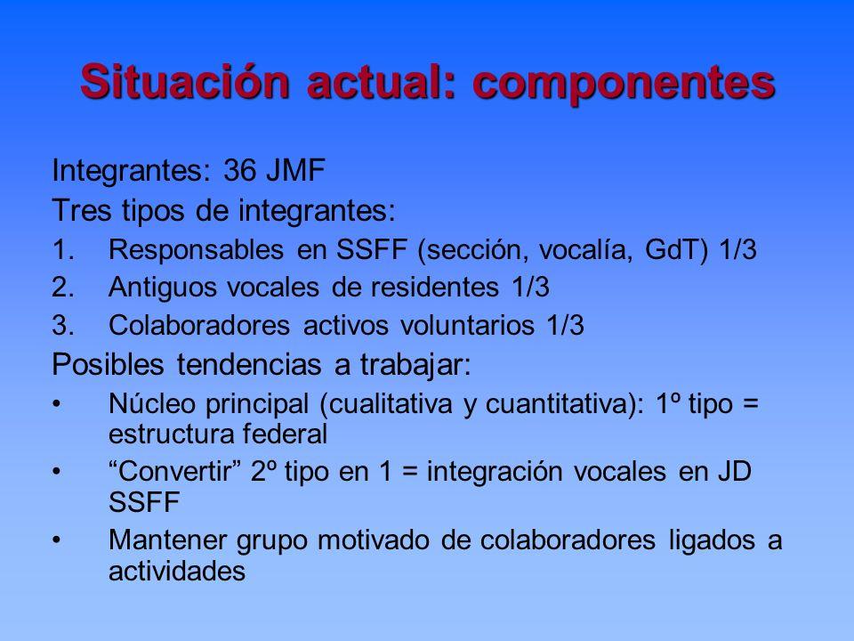Situación actual: componentes Integrantes: 36 JMF Tres tipos de integrantes: 1.Responsables en SSFF (sección, vocalía, GdT) 1/3 2.Antiguos vocales de