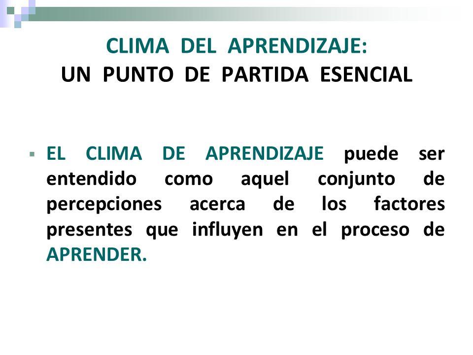 CLIMA DEL APRENDIZAJE: UN PUNTO DE PARTIDA ESENCIAL EL CLIMA DE APRENDIZAJE puede ser entendido como aquel conjunto de percepciones acerca de los fact