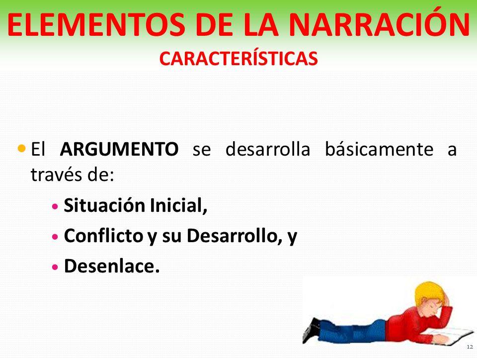 El ARGUMENTO se desarrolla básicamente a través de: Situación Inicial, Conflicto y su Desarrollo, y Desenlace. ELEMENTOS DE LA NARRACIÓN CARACTERÍSTIC