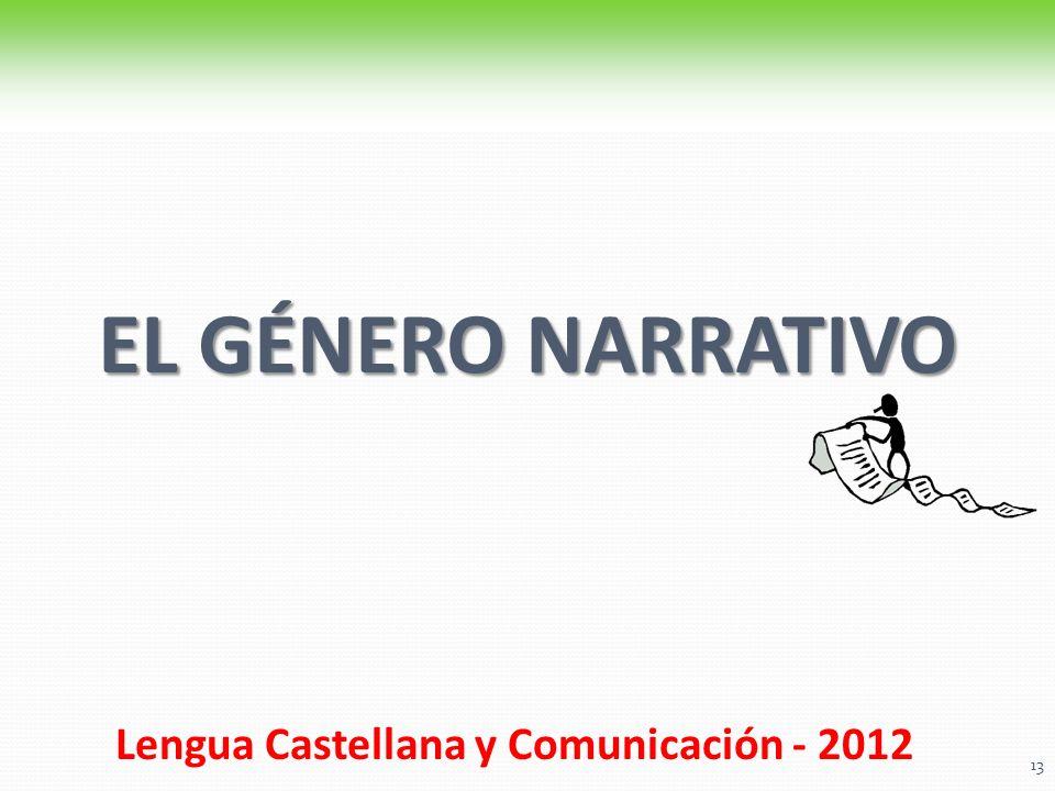 EL GÉNERO NARRATIVO Lengua Castellana y Comunicación - 2012. 13