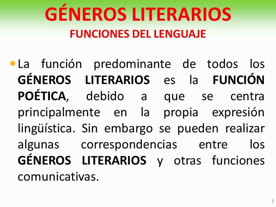 La función predominante de todos los GÉNEROS LITERARIOS es la FUNCIÓN POÉTICA, debido a que se centra principalmente en la propia expresión lingüístic