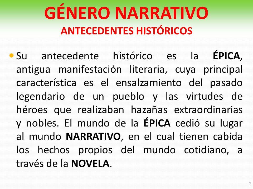 Su antecedente histórico es la ÉPICA, antigua manifestación literaria, cuya principal característica es el ensalzamiento del pasado legendario de un p