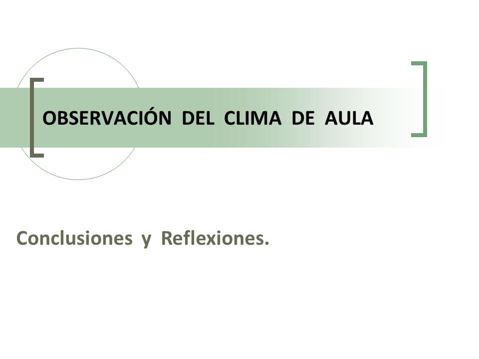 OBSERVACIÓN DEL CLIMA DE AULA Conclusiones y Reflexiones.