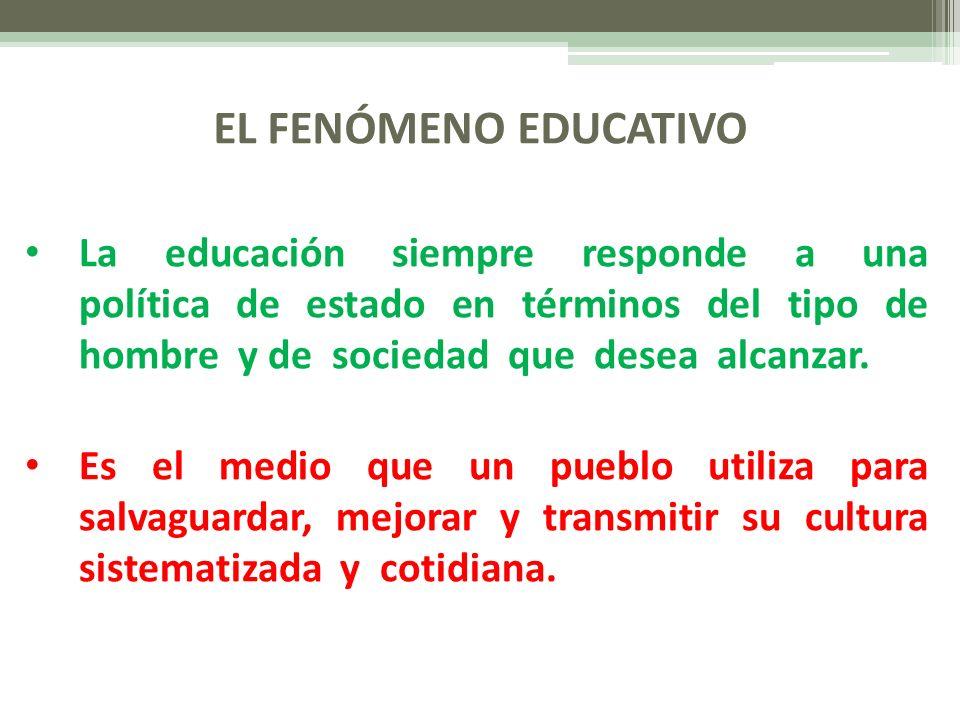 EL FENÓMENO EDUCATIVO La educación siempre responde a una política de estado en términos del tipo de hombre y de sociedad que desea alcanzar. Es el me