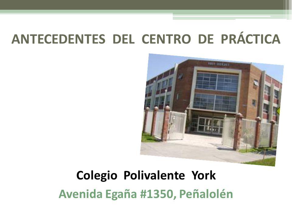 ANTECEDENTES DEL CENTRO DE PRÁCTICA Colegio Polivalente York Avenida Egaña #1350, Peñalolén