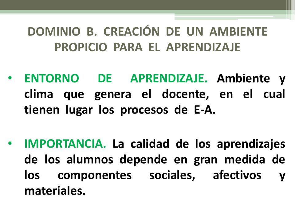 DOMINIO B.CREACIÓN DE UN AMBIENTE PROPICIO PARA EL APRENDIZAJE ELEMENTOS.