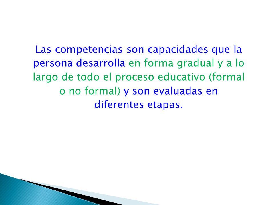 Las competencias son capacidades que la persona desarrolla en forma gradual y a lo largo de todo el proceso educativo (formal o no formal) y son evalu