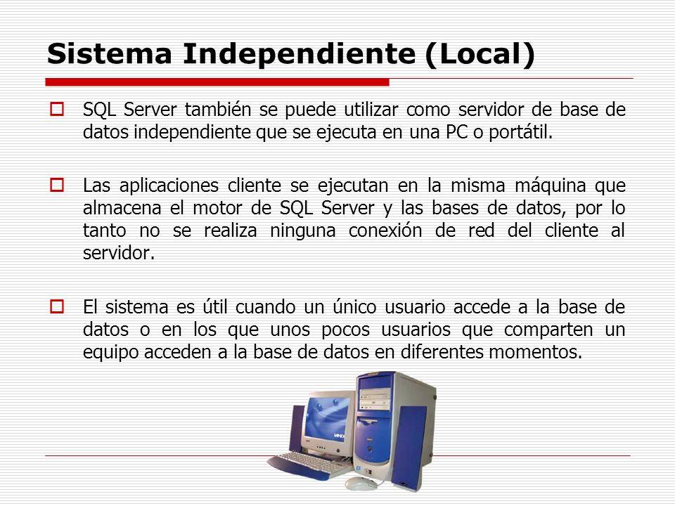 Sistema Independiente (Local) SQL Server también se puede utilizar como servidor de base de datos independiente que se ejecuta en una PC o portátil. L