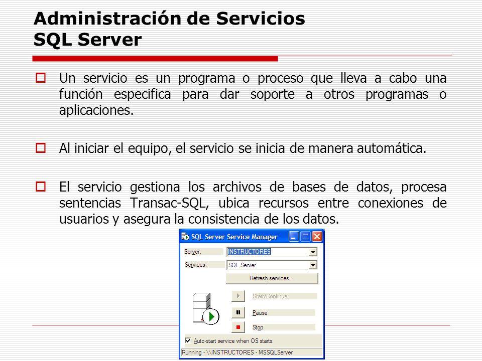 Administración de Servicios SQL Server Un servicio es un programa o proceso que lleva a cabo una función especifica para dar soporte a otros programas