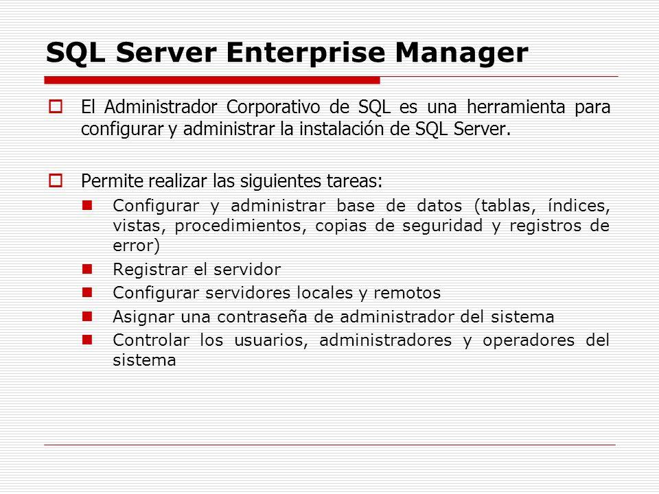 SQL Server Enterprise Manager El Administrador Corporativo de SQL es una herramienta para configurar y administrar la instalación de SQL Server. Permi