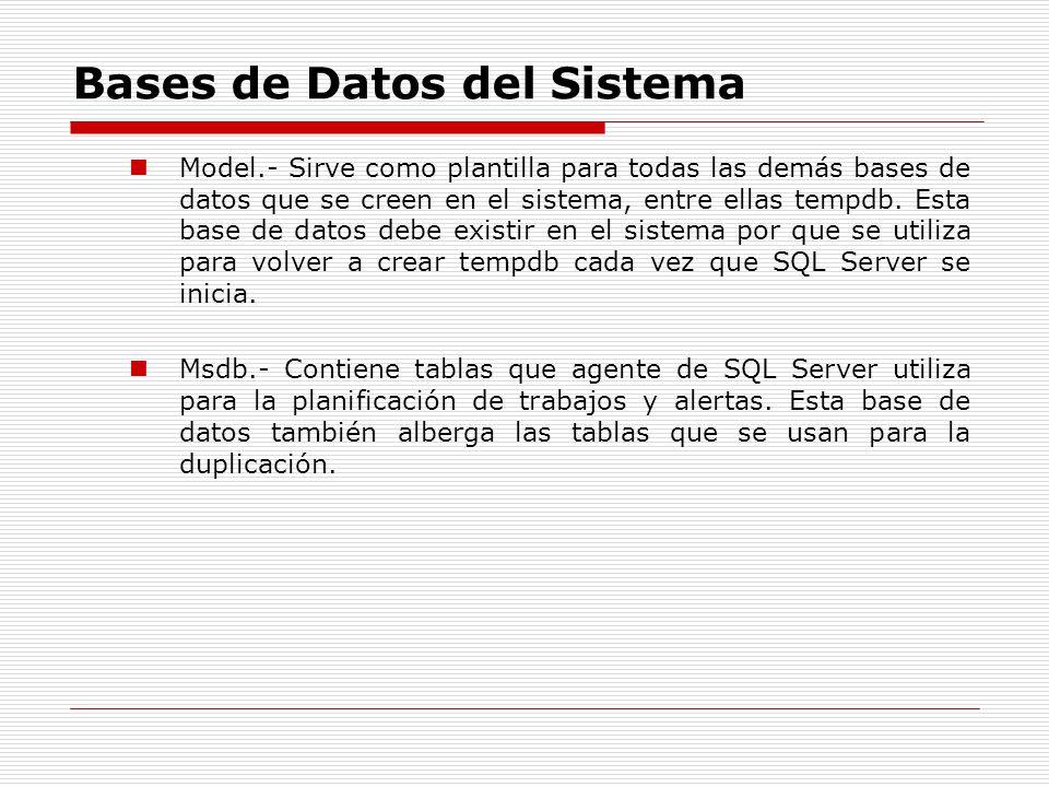 Bases de Datos del Sistema Model.- Sirve como plantilla para todas las demás bases de datos que se creen en el sistema, entre ellas tempdb. Esta base