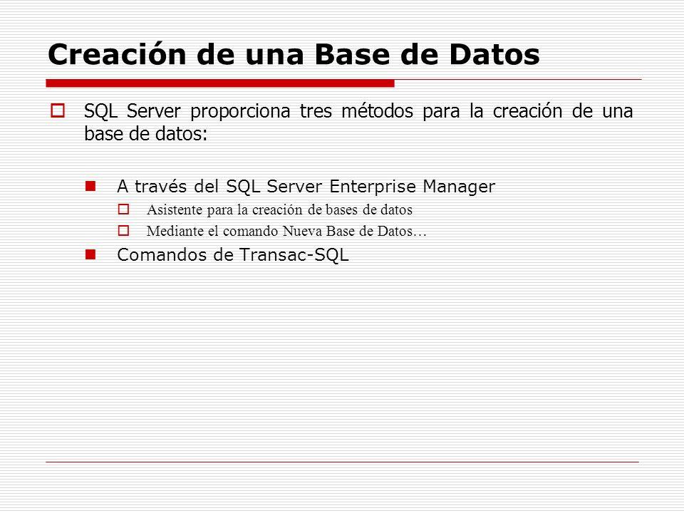 Creación de una Base de Datos SQL Server proporciona tres métodos para la creación de una base de datos: A través del SQL Server Enterprise Manager As