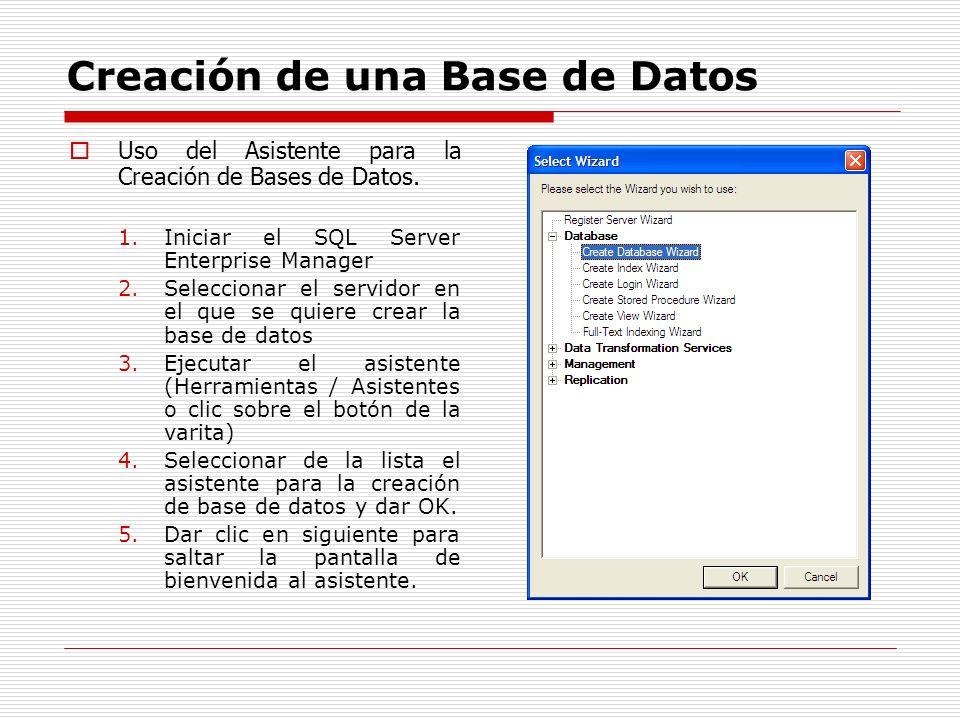 Creación de una Base de Datos Uso del Asistente para la Creación de Bases de Datos. 1.Iniciar el SQL Server Enterprise Manager 2.Seleccionar el servid