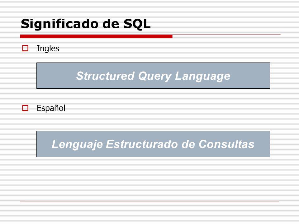 Significado de SQL Ingles Español Structured Query Language Lenguaje Estructurado de Consultas