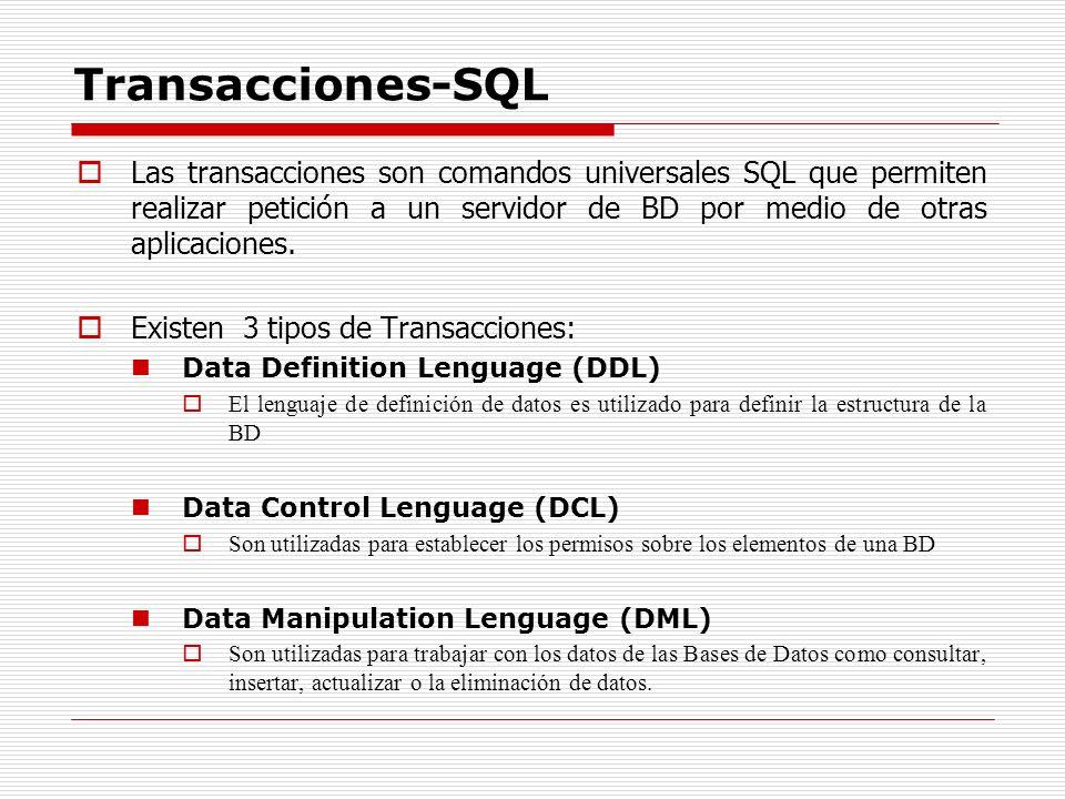 Transacciones-SQL Las transacciones son comandos universales SQL que permiten realizar petición a un servidor de BD por medio de otras aplicaciones. E