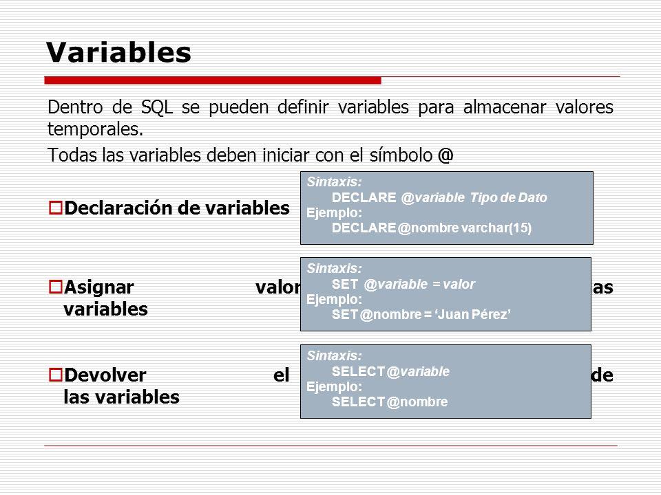 Variables Dentro de SQL se pueden definir variables para almacenar valores temporales. Todas las variables deben iniciar con el símbolo @ Declaración