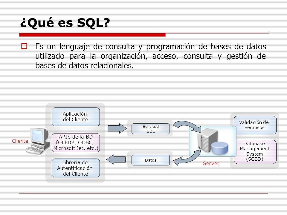 ¿Qué es SQL? Es un lenguaje de consulta y programación de bases de datos utilizado para la organización, acceso, consulta y gestión de bases de datos