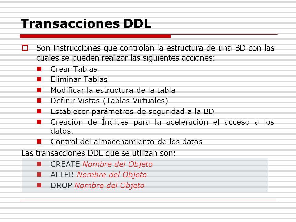 Transacciones DDL Son instrucciones que controlan la estructura de una BD con las cuales se pueden realizar las siguientes acciones: Crear Tablas Elim