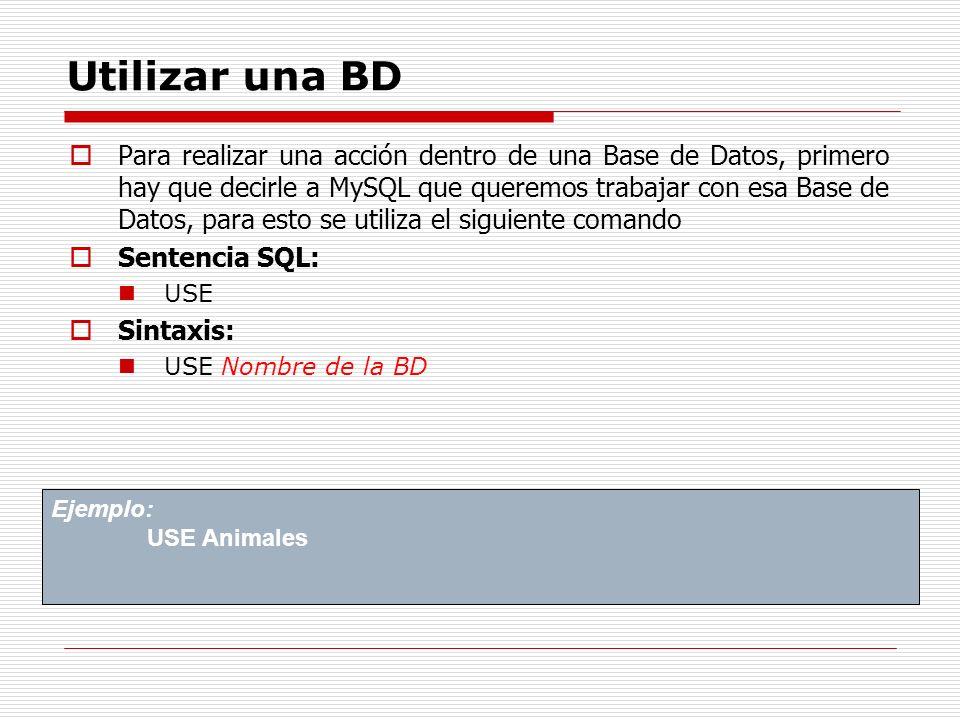Utilizar una BD Para realizar una acción dentro de una Base de Datos, primero hay que decirle a MySQL que queremos trabajar con esa Base de Datos, par