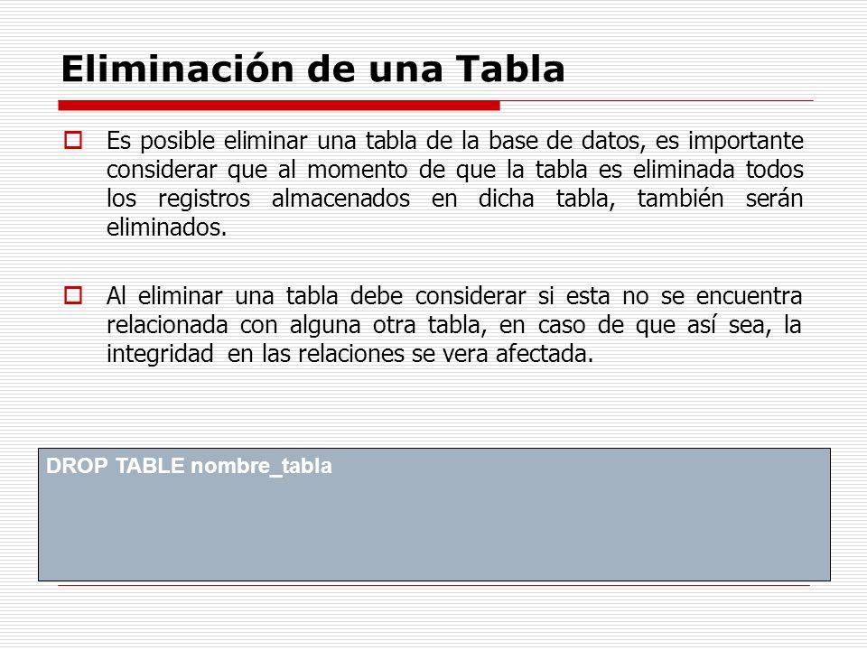 Eliminación de una Tabla Es posible eliminar una tabla de la base de datos, es importante considerar que al momento de que la tabla es eliminada todos
