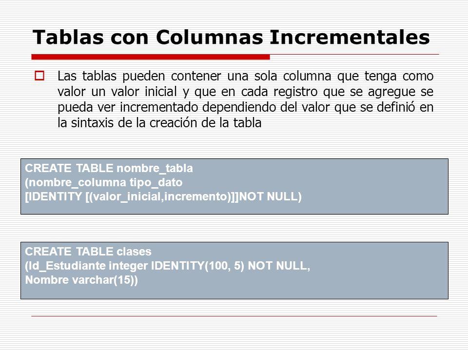 Tablas con Columnas Incrementales Las tablas pueden contener una sola columna que tenga como valor un valor inicial y que en cada registro que se agre