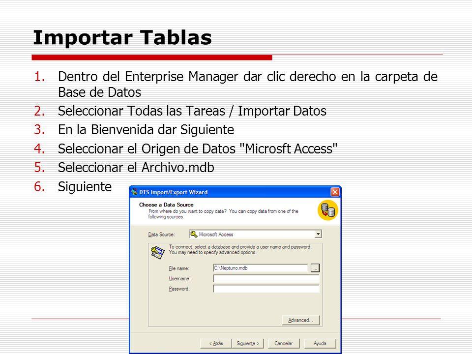 Importar Tablas 1.Dentro del Enterprise Manager dar clic derecho en la carpeta de Base de Datos 2.Seleccionar Todas las Tareas / Importar Datos 3.En l
