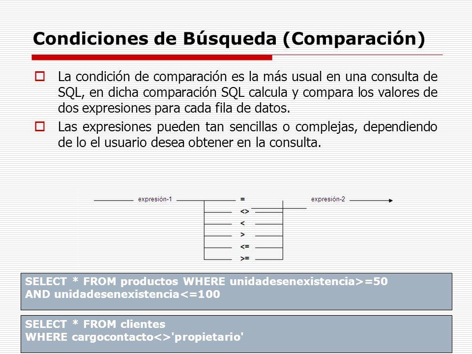 Condiciones de Búsqueda (Comparación) La condición de comparación es la más usual en una consulta de SQL, en dicha comparación SQL calcula y compara l
