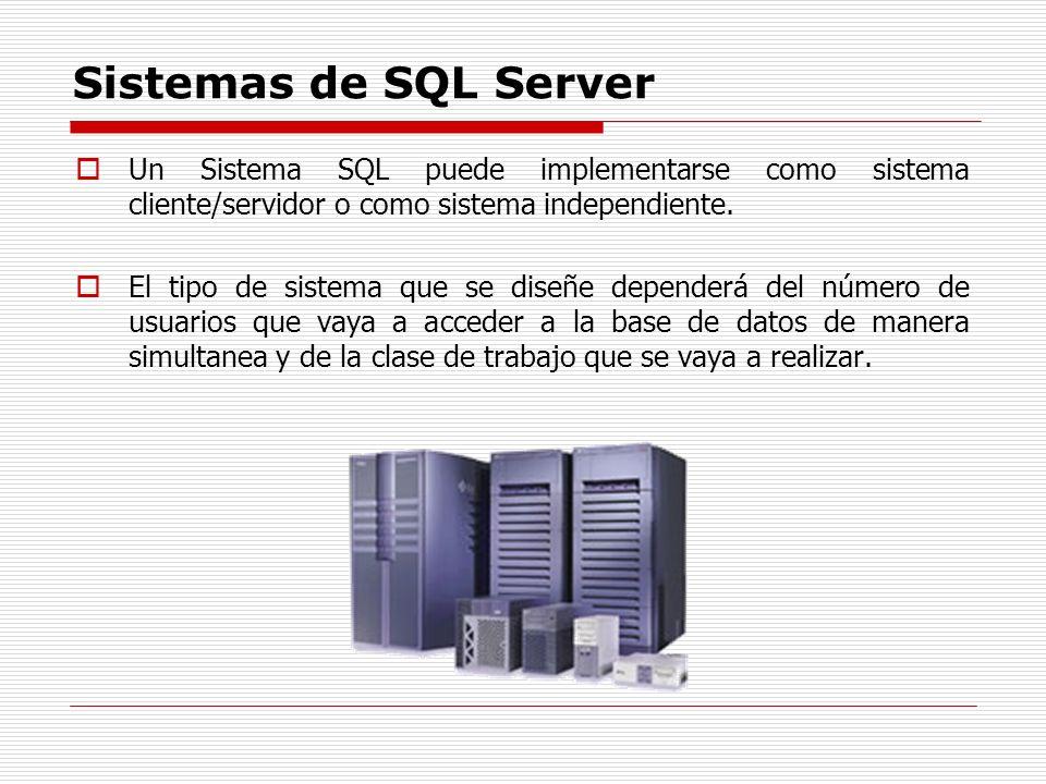 Sistemas de SQL Server Un Sistema SQL puede implementarse como sistema cliente/servidor o como sistema independiente. El tipo de sistema que se diseñe