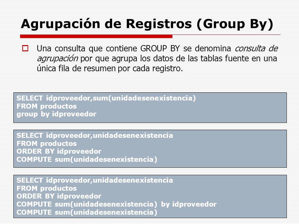 Agrupación de Registros (Group By) Una consulta que contiene GROUP BY se denomina consulta de agrupación por que agrupa los datos de las tablas fuente