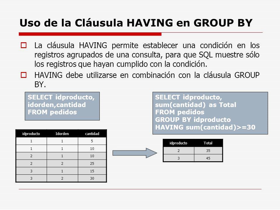 Uso de la Cláusula HAVING en GROUP BY La cláusula HAVING permite establecer una condición en los registros agrupados de una consulta, para que SQL mue