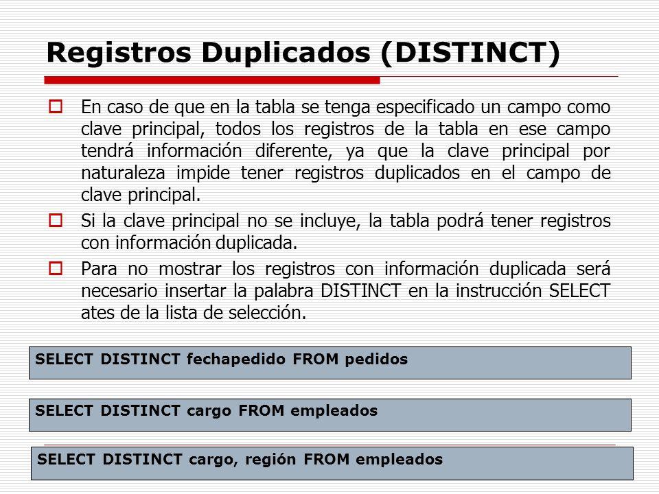 Registros Duplicados (DISTINCT) En caso de que en la tabla se tenga especificado un campo como clave principal, todos los registros de la tabla en ese