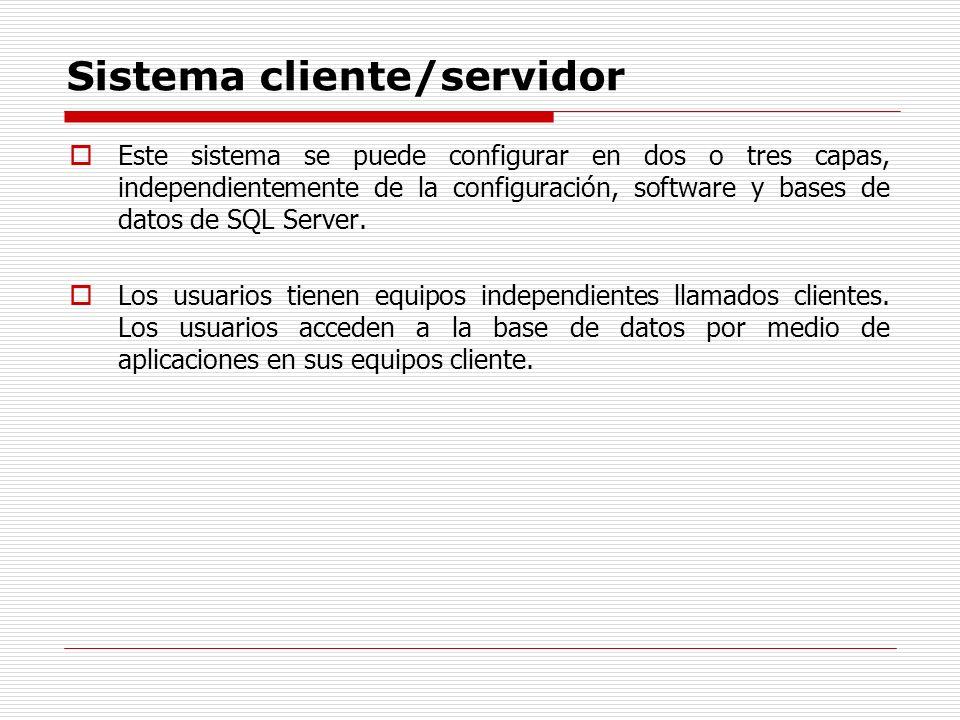 Sistema cliente/servidor Este sistema se puede configurar en dos o tres capas, independientemente de la configuración, software y bases de datos de SQ