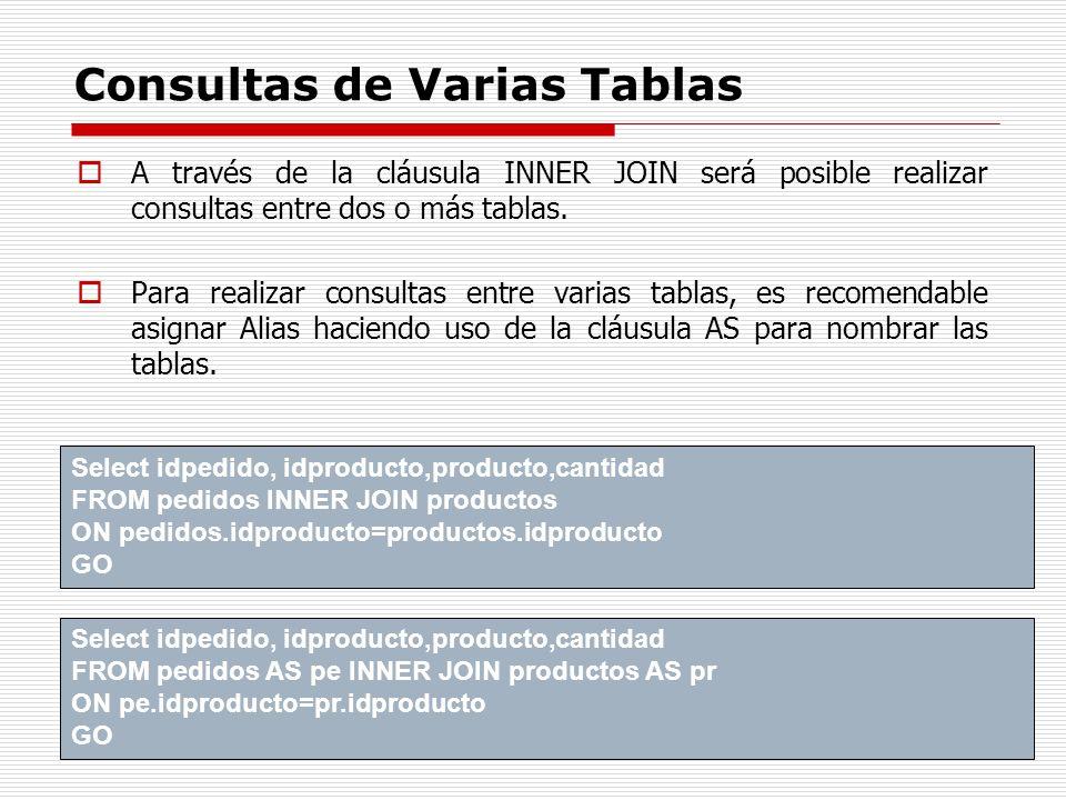 Consultas de Varias Tablas A través de la cláusula INNER JOIN será posible realizar consultas entre dos o más tablas. Para realizar consultas entre va