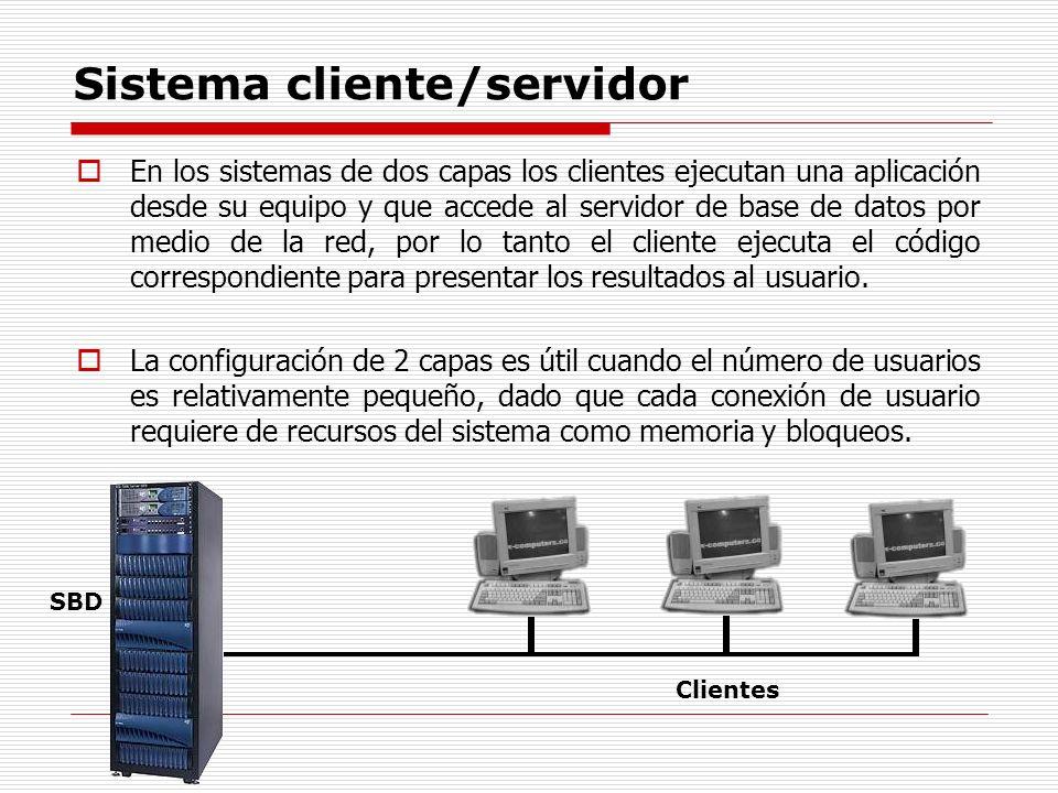 Sistema cliente/servidor En los sistemas de dos capas los clientes ejecutan una aplicación desde su equipo y que accede al servidor de base de datos p