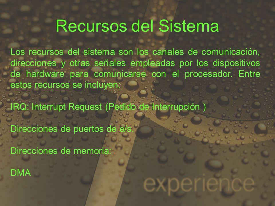 Recursos del Sistema Los recursos del sistema son los canales de comunicación, direcciones y otras señales empleadas por los dispositivos de hardware