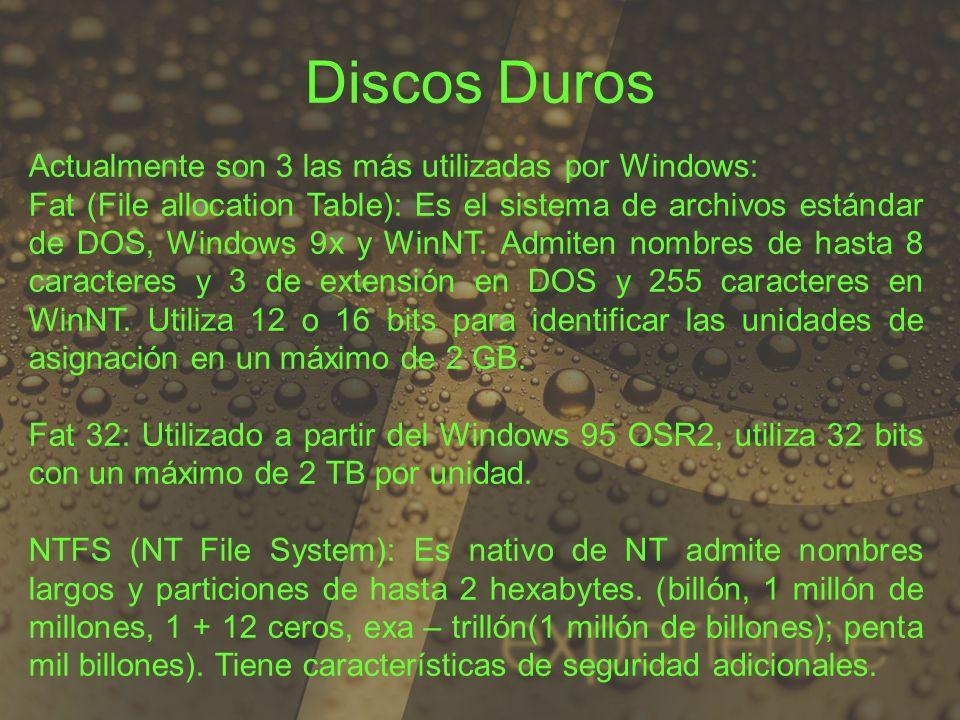 Actualmente son 3 las más utilizadas por Windows: Fat (File allocation Table): Es el sistema de archivos estándar de DOS, Windows 9x y WinNT. Admiten