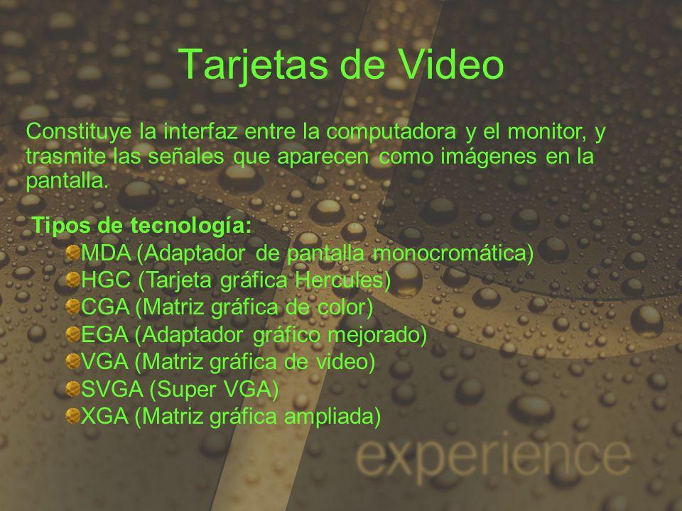 Tarjetas de Video Constituye la interfaz entre la computadora y el monitor, y trasmite las señales que aparecen como imágenes en la pantalla. Tipos de