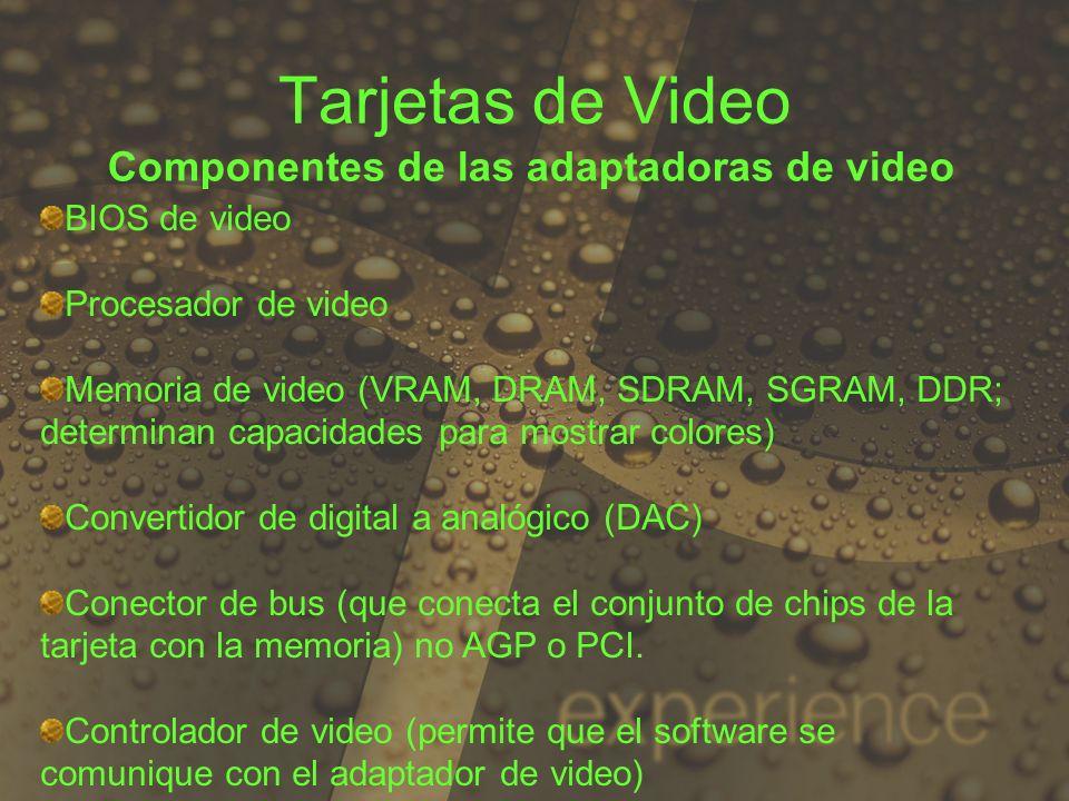 Tarjetas de Video Componentes de las adaptadoras de video BIOS de video Procesador de video Memoria de video (VRAM, DRAM, SDRAM, SGRAM, DDR; determina