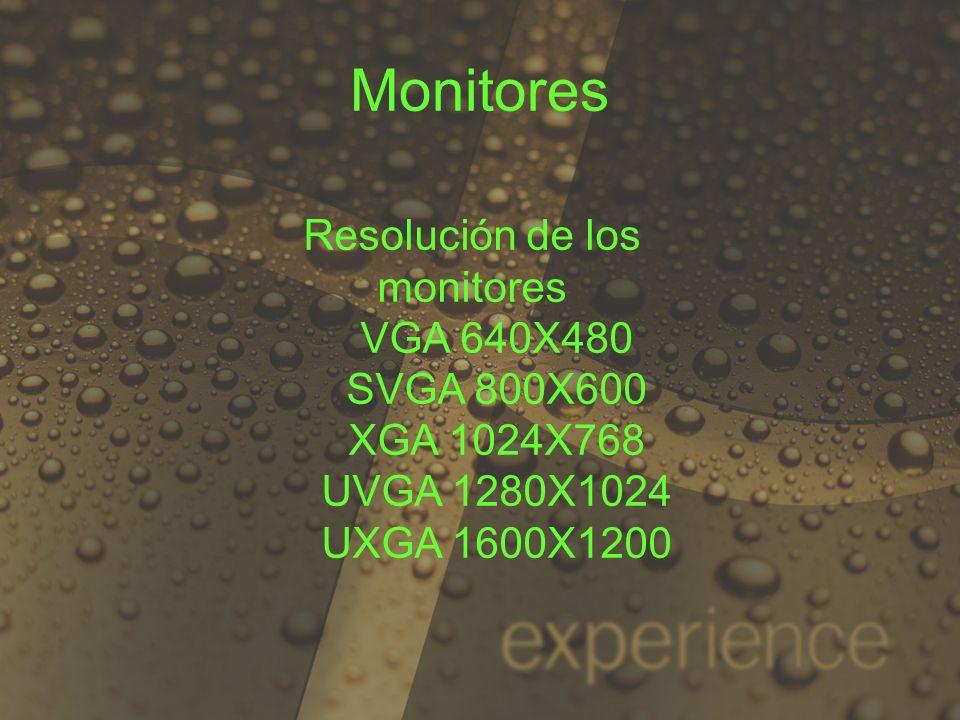 Resolución de los monitores VGA 640X480 SVGA 800X600 XGA 1024X768 UVGA 1280X1024 UXGA 1600X1200 Monitores