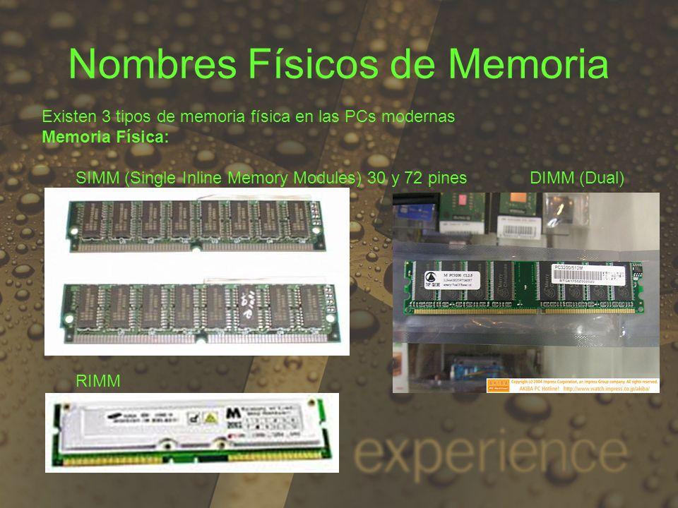 Nombres Físicos de Memoria Existen 3 tipos de memoria física en las PCs modernas Memoria Física: SIMM (Single Inline Memory Modules) 30 y 72 pines DIM