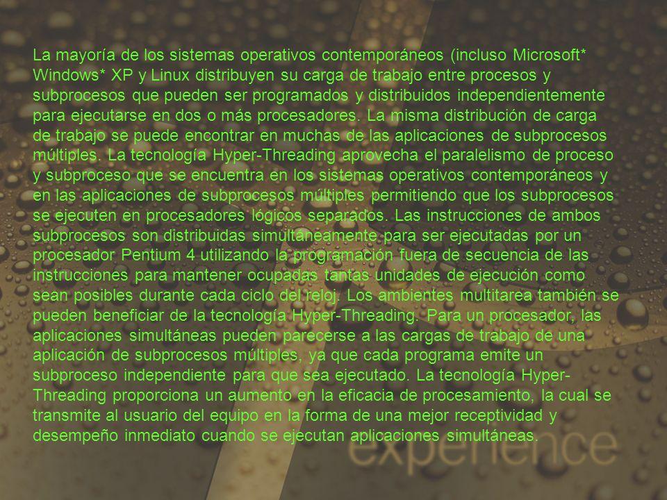 La mayoría de los sistemas operativos contemporáneos (incluso Microsoft* Windows* XP y Linux distribuyen su carga de trabajo entre procesos y subproce